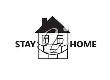 Quarantine sign. Crestative symbol with house, wearing medical mask and lettering Stay home, Stay safe over white background.