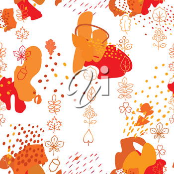 Autumn leaves seamless pattern. Leaf icon set in ornamental tile background. Fall nature backdrop in eastern style.