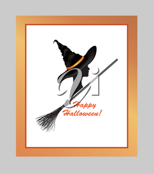 Halloween holiday greeting card with lettering Happy Halloween and beautiful witch girl in hat and bats silhouettes over white background