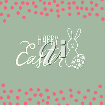 Happy Easter greeting card. Spring holiday background with rabbit bunny and handwritten lettering HAPPY EASTER over line drawn Easter icons eggs and retro background.