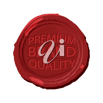 Wax stamp template. Red wax seal isolated. Wax seal with text - premium brand quality. Vector illustration.