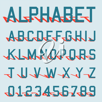Font alphabet with shadow. Letters and numbers template. Vector illustration.