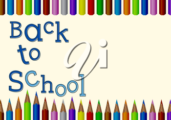 Back to School Card. Colored Pencils. Vector design.
