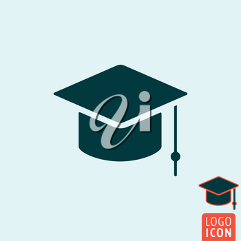 Student icon. Student logo. Student symbol. Student cap icon isolated, graduation cap minimal design. Vector illustration