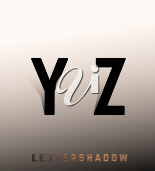 Alphabet font template. Set of letters Y, Z logo or icon. Vector illustration.