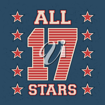 T-shirt print design. All stars vintage stamp. Printing and badge, applique, label for t-shirts, jeans, casual wear. Vector illustration.