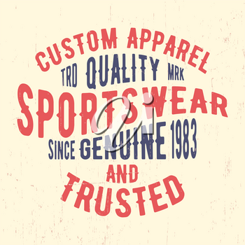 T-shirt print design. Sportswear vintage stamp. Printing and badge, applique, label for t-shirts, jeans, casual wear. Vector illustration.