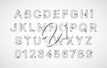 Alphabet font template. Connection colored dots design. Letters and numbers. Vector illustration.