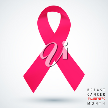 Breast cancer awareness month poster with pink ribbon. Vector illustration.