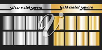 Gold and silver gradient square set. Golden silver metallic texture pattern. Vector illustration