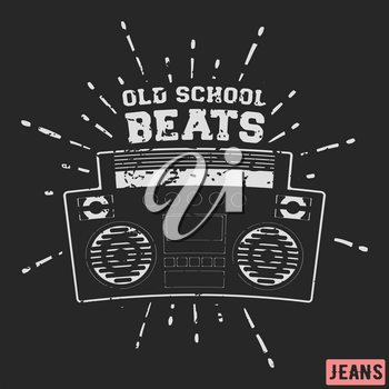 T-shirt print design. Ghetto blaster vintage stamp. Printing and badge applique label t-shirts, jeans, casual wear. Vector illustration.