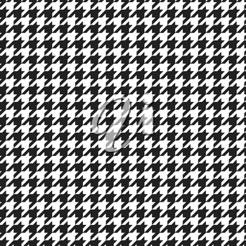 Houndstooth plaid pattern. Alternating black and white hounds tooth check seamless background. Vector illustration.