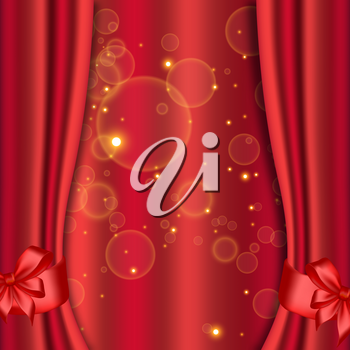Red curtains background. Theater, circus show or cinema backdrop. Vector illustration.