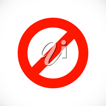 Warning red symbol template. Stop sign icon. Vector illustration.