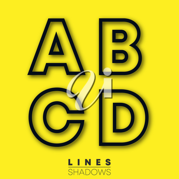 Letters linear design. Set of letter A, B, C, D template for logo or icon. Vector illustration.