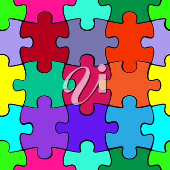 Colorful puzzle seamless pattern background. Jigsaw pieces template. Vector illustration.