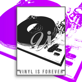 Vinyl is forever slogan design for vintage poster, flyer, brochure cover, retro typography, or other printing products. Vector illustration.