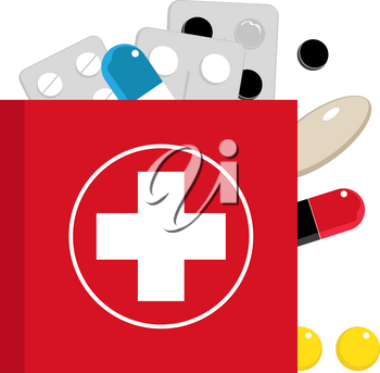 Vector illustration flat of aid kit and tablet.  Set flat tablets and aid kit on blue background. Icon of aid kit.