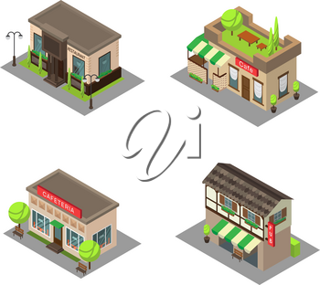 Set vector isometric city building pub, cafe, restaurant. Isometric icon or infographic element pub, cafe and restaurant on white background.