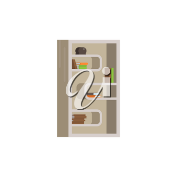 Vector flat illustration of bookcase on white background. Interior furniture element icon bookcase with shelves books isolated