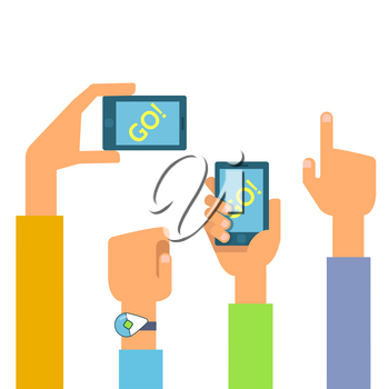 Vector flat illustration of set phones in the hands. Concept of design playing video game
