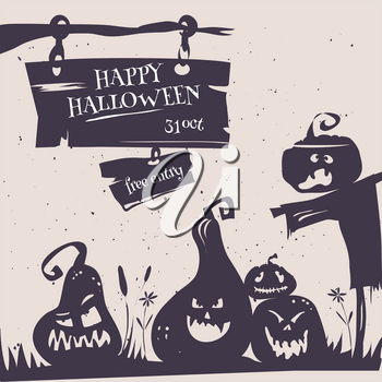 Happy Halloween party poster card. Vector illustration flyer of happy Halloween party with cartoon pumpkins silhouette and moon in retro stile. Halloween logos emblems and labels on white background