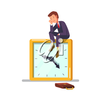 Vector illustration of the concept of procrastination. Office worker businessman sitting on a clock, procrastinate, dreams wasting time.