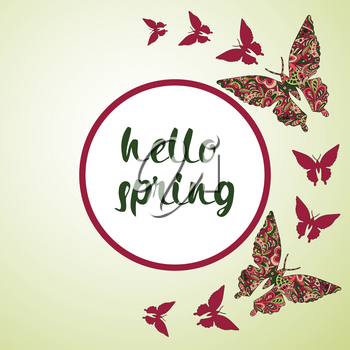 Spring postcard, cover, bright background for inscriptions. Hello Spring. Butterflies pattern in green and red tones