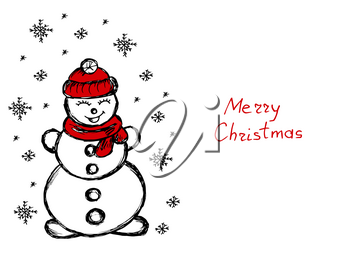 Snowman. It's snowing. Snowflakes. Winter illustration. Hand drawing. Doodle image. Merry Christmas