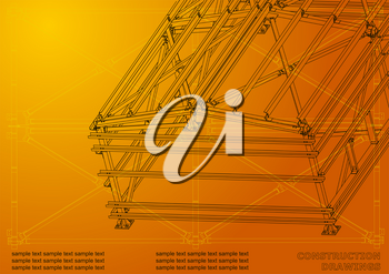 Building. Metal constructions. Volumetric constructions. 3D design. Abstract backgrounds. Cover, banner. Orange