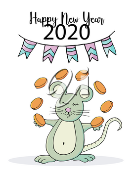 Cute mouse or rat, symbol of 2020. New Year greeting card, flyer, banner. Holiday poster, invitation. Eps 10. Happy new year