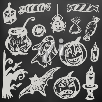 Halloween. A set of funny objects. White chalk on a blackboard. Collection of festive elements. Autumn holidays. Pumpkin, ghost, spider, candy, eye, cauldron, wood, bat, candle