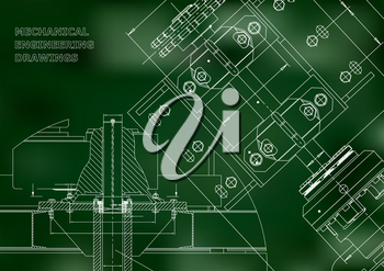 Blueprints. Mechanical construction. Technical Design. Engineering Cover. Banner. Green