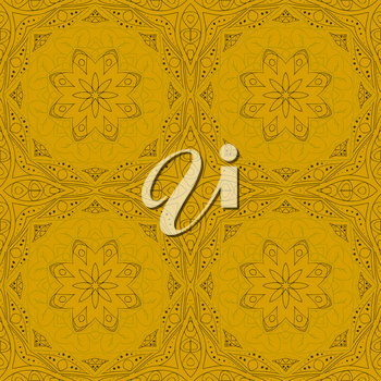 Seamless Mandala. Seamless floral ornament. Doodle drawing. Hand drawing. Yoga, relaxation, floral motifs. Yellow