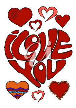 Sketch, stickers, pins. Doodle elements. Heart. Hand drawing. Love, feelings. St. Valentine's Day. Lettering. I love you