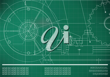 Vector drawing. Mechanical drawings. Engineering  background. Light green. Grid