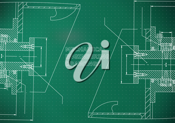 Mechanical engineering. Technical illustration. Backgrounds of engineering subjects. Light green background. Points