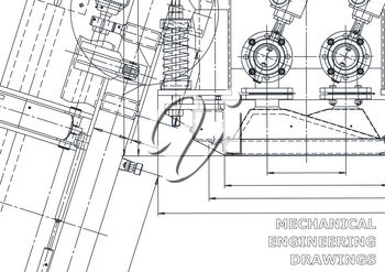 Sketch. Vector engineering illustration. Computer aided design systems. Instrument-making drawings. Mechanical engineering drawing. Technical illustrations, backgrounds. Blueprint, outline plan