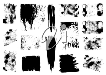 Vector drawing paints. Strips, grunge prints. Design elements for your creativity. Handmade. Original textures, hand draw. Brushes