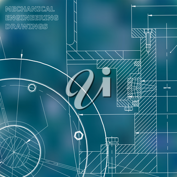 Backgrounds of engineering subjects. Technical illustration. Mechanical engineering. Blue background