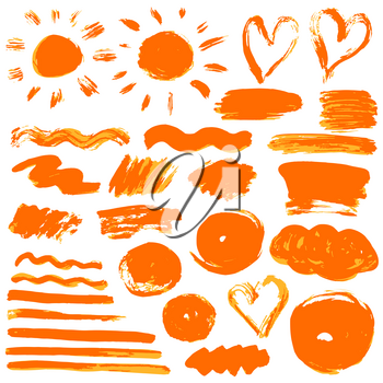 Collection of orange paint, ink, brush strokes, brushes, lines, grungy. Waves, Dirty elements of decoration boxes frames