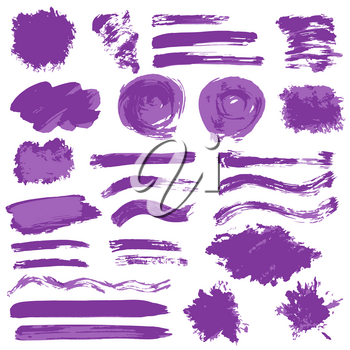 Collection of violet paint, ink, brush strokes, brushes, lines, grungy. Waves, circles, sun, heart. Dirty elements of decoration boxes frames Vector illustration Freehand drawing