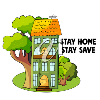 Coronavirus precaution. Coronavirus in China. Novel coronavirus (2019-nCoV). Stay at home concept illustration with house and trees modern cute style. Stay home club. Stay safe poster for quarantine