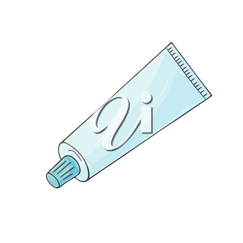 Medical icon. Vector illustration in hand draw style. Isolated on white background. Medical instrument. Toothpaste