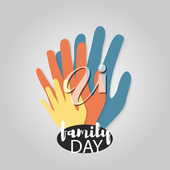 Family day. Hand print isolated on white background mother, father, baby finger. Abstract concept family holiday. Parents care. Happy symbol of family love. Vector illustration material long shadow.
