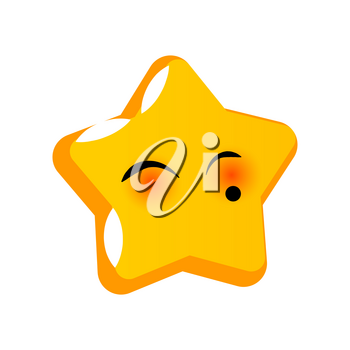 Emotional shy romantic kiss faces star smiles. Vector illustration smile icon. Face emoji yellow icon. Smile cute funny emotion face isolated background. Feelings, expression for message, sms.