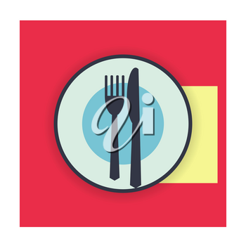 provide etiquette wait next meal on white background flat. Knives and forks on a plate. Vector illustration.