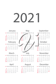 2021 monthly calendar template isolated on white background. Time organizing schedule in grey colors. Classical usa calendar with standard weekly block module. Vertical 2021 calendar vector illustration.