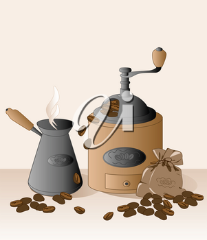 coffee grinder, cezve, coffee beans and bag