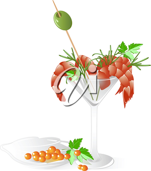 shrimps and red caviar  in a crystal tableware with leaves of parsley, olive and dill